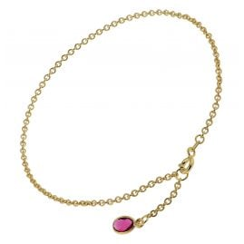trendor 51192 Anklet Gold Plated Silver 925 with Red Quartz