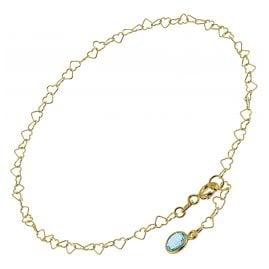 trendor 51193 Anklet Gold Plated Silver 925 with Light Blue Quartz