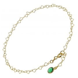 trendor 51194 Anklet Gold Plated Silver 925 with Green Quartz