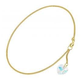 trendor 51328 Fußkette mit Kristallherz Gold 333 / 8K