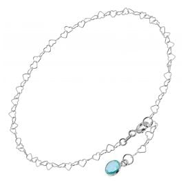 trendor 51337 Anklet 925 Sterling Silver With Light Blue quartz