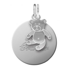trendor 87677 Silver Kid's Engraving Pendant Set Teddy Bear