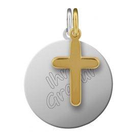 trendor 87684 Silber Gravur-Set Kreuz vergoldet