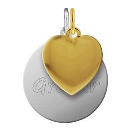 trendor 87691 Silber Gravur-Anhänger Set Herz vergoldet