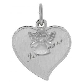 trendor 78841 Silver Engraving Pendant Heart with Guardian Angel
