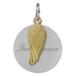 trendor 08279 Silver Engraving Plate with Wing Pendant