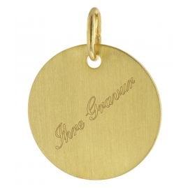 trendor 51044 Gravurplatte für Mädchen Gold 333 / 8K Seidenmatt Ø 14 mm