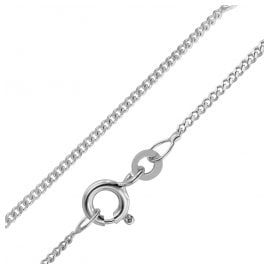 trendor 75175 Women's Necklace 585 White Gold Curb Chain 1.4 mm Wide