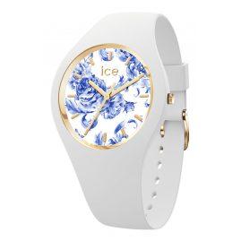 Ice-Watch 019227 Damenuhr ICE Blue M Porzellanweiß mit Blumen