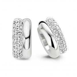 Ti Sento 7643ZI Ladies' Hoop Earrings with Cubic Zirconia 925 Silver