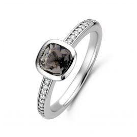 Ti Sento 12176GB Damen-Ring Silber mit Grauem Stein