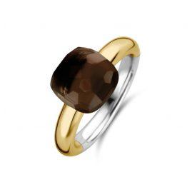 Ti Sento 12187TB Damenring Silber vergoldet mit Braunem Stein
