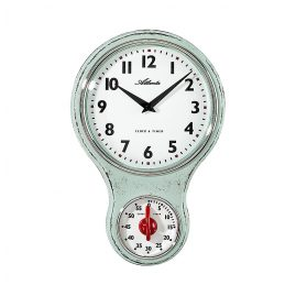 Atlanta 6124/6 Kitchen Wall Clock Nostalgia Light Green