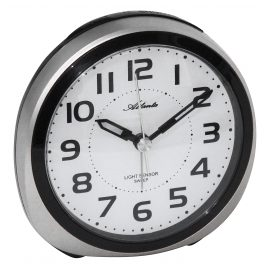 Atlanta 1954/19 Alarm Clock with Light Sensor Silver Tone