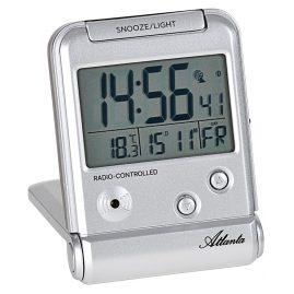 Atlanta 1806/19 Digital Alarm Clock Travel Radio-Controlled silver
