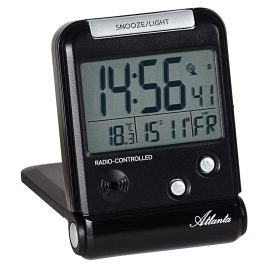 Atlanta 1806/7 Digital Travel Alarm Clock Radio-Controlled Black
