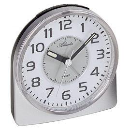Atlanta 1996/19 Wecker mit Leisegang Uhrwerk silber / schwarz