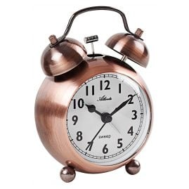 Atlanta 2101/18 Retro Alarm Clock with Bell Signal Coppery Metal Case