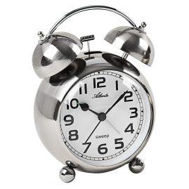 Atlanta 2102/19 Retro Alarm Clock with Bell Signal Silver Tone Metal Case
