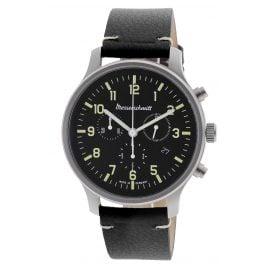 Messerschmitt ME-3H200L Herren-Armbanduhr Chronograph mit schwarzem Lederband