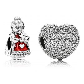 Pandora 08006 Charm Set Mrs. Santa Claus and Pavé Heart