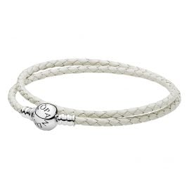 Pandora 590745CIW Double Woven Leather Bracelet White