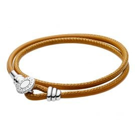 Pandora 597194CGT Leder-Armband Moments Zweifach Goldfarben