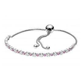 Pandora 598517C02 Ladies' Silver Bracelet Pink & Clear Sparkle