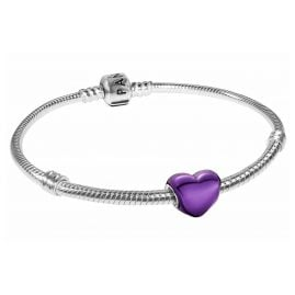 Pandora 39820 Damen-Armband Metallisch-Lilafarbenes Herz Silber