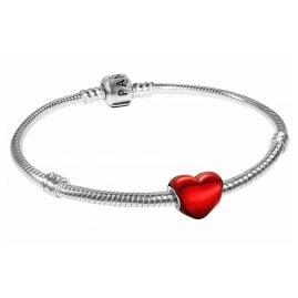 Pandora 39823 Damen-Armband Metallisch-Rotes Herz Siber