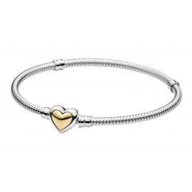 Pandora 599380C00 Damen-Armband Silber Gewölbtes Goldherz