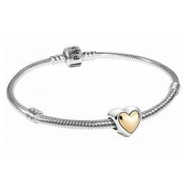Pandora 51077 Silber Damen-Armband Gewölbtes Goldherz