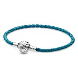 Pandora 598951C01 Damen-Armband Leder Türkis mit Muschelverschluss