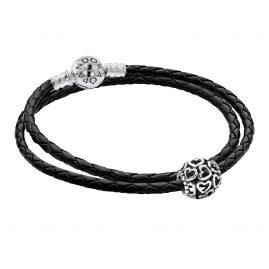 Pandora 51521 Damen Leder-Armband Set mit Charm Offene Herzen