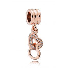 Pandora 781242CZ Charm Pendant Intertwined Hearts Rose