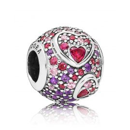 Pandora 797826CZRMX Charm Asymmetric Hearts of Love