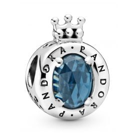 Pandora 798266NMB Silver Charm Blue Sparkling Crown O