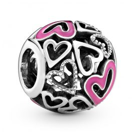 Pandora 798677C01 Silver Charm Pink Freehand Heart