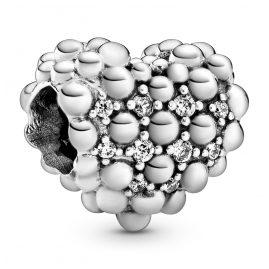 Pandora 798681C01 Silver Charm Beaded Sparkling Heart