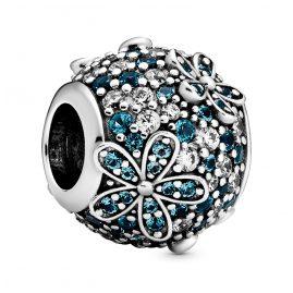 Pandora 798797C01 Silver Bead Charm Teal Pavé Daisy Flower