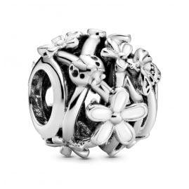 Pandora 798772C01-Silver-Bead-Charm-White-Daisy-Flower