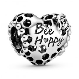 Pandora 798769C00 Silver Bead Charm Honeycomb Heart Bee Happy