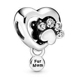 Pandora 798873C01 Silver Bead Charm Heart with Dog's Paw Print