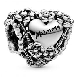 Pandora 798892C00 Silver Bead Charm Flower Heart Mummy