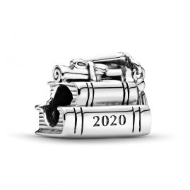 Pandora 798910C00 Silver Bead Charm 2020 Graduation Books and Hat