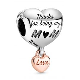 Pandora 788830C00 Rose Bead Charm Heart Love You Mum