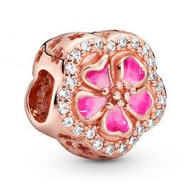 Pandora 788079CZ Rose Charm Rosafarbene Funkelnde Pfirsichblüte