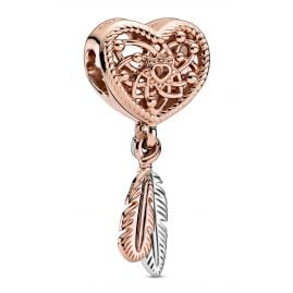 Pandora 789068C00 Rose Charm Dreamcatcher with 2 Feathers