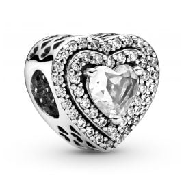 Pandora 799218C01 Charm Sparkling Levelled Hearts Silver