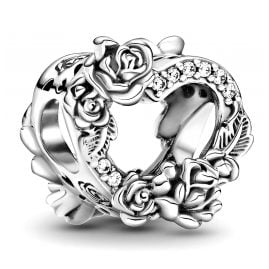 Pandora 799281C01 Silver Charm Open Heart and Rose Flowers